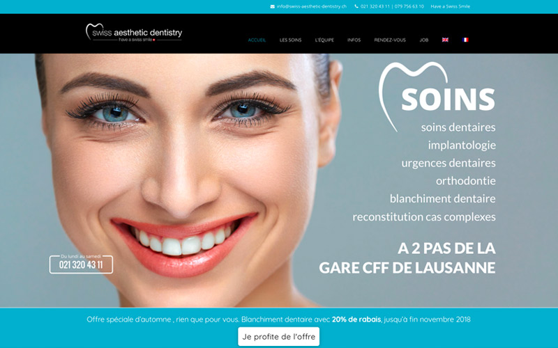Dentiste Lausanne agence web chocoweb