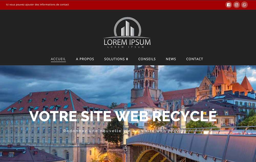 Site web recyclé low cost