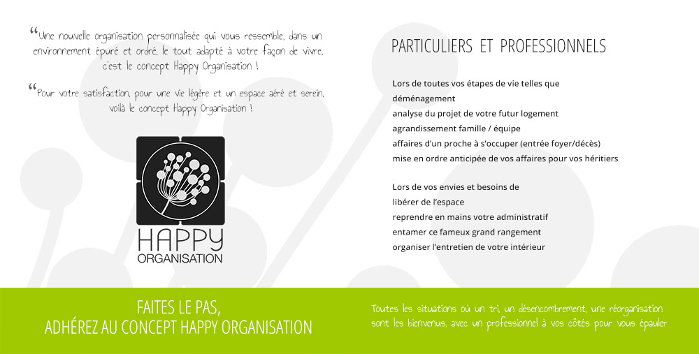 Création graphique flyers Happy Organisation
