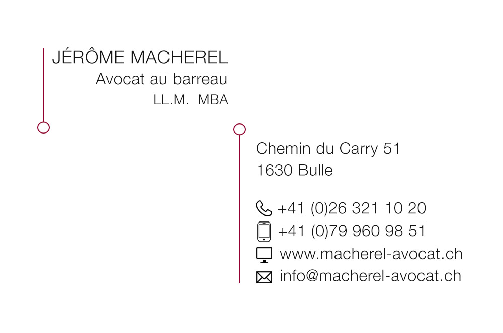 Création graphique cartes de visite Avocat Macherel