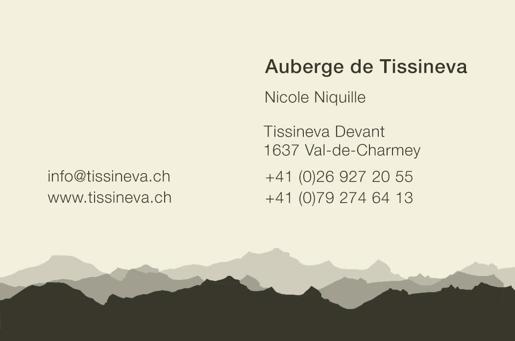 Création graphique cartes de visite Tissiniva