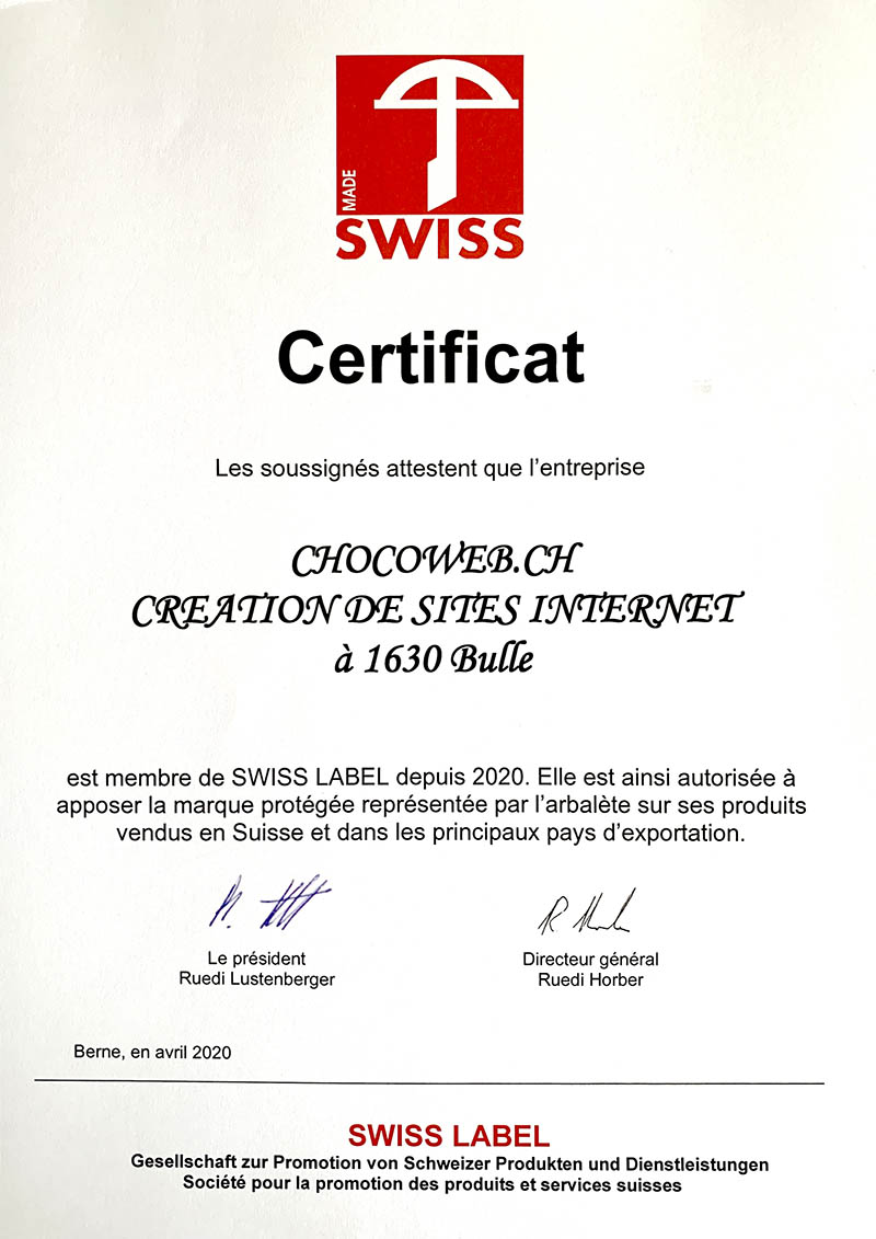 Certificat Swiss Label