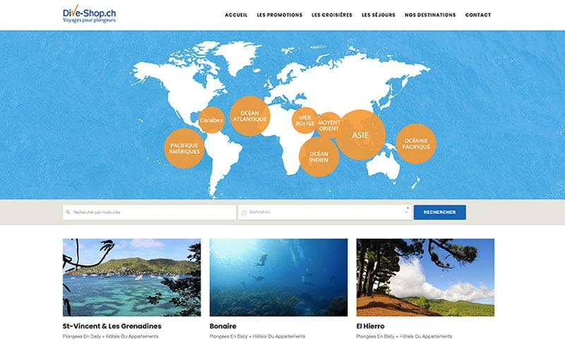 dive shop création web chocoweb